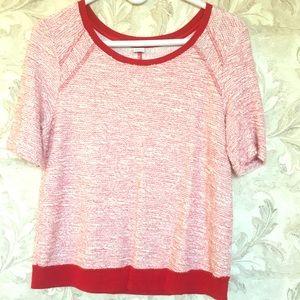 Three Dot Red Marl Short Sleeve Sweater